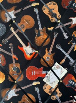 Custom Handmade Bespoke Fabric Pin Memo Notice Photo Cork Memo Board With Timeless Treasures Feel The Music Black Guitar Toss With Your Choice of Size
