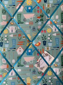 Custom Handmade Bespoke Fabric Pin Memo Notice Photo Cork Memo Board With Timeless Treasures Hobbies The Gardener Teal With Your Choice of Size
