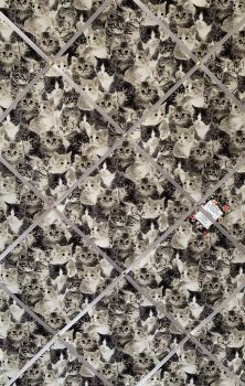 Custom Handmade Bespoke Fabric Pin Memo Notice Photo Cork Memo Board With Black White Monochrome Cats Kittens With Your Choice of Size