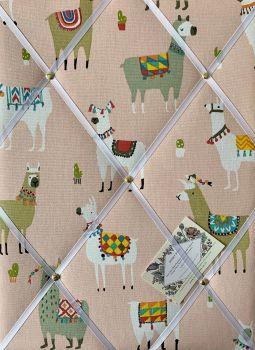 Custom Handmade Bespoke Fabric Pin Memo Notice Photo Cork Memo Board With Prestigious Alpaca Bon Bon Pink With Your Choice of Size & Ribbon