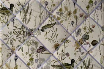Custom Handmade Bespoke Fabric Pin Memo Notice Photo Cork Memo Board With Prestigious Wetlands Sage Duck Bird With Your Choice of Sizes & Rib