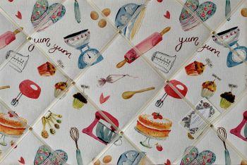 Custom Handmade Bespoke Fabric Pin Memo Notice Photo Cork Memo Board With Clarke & Clarke Bake Off Baking Kitchen With Your Choice of Sizes & Rib