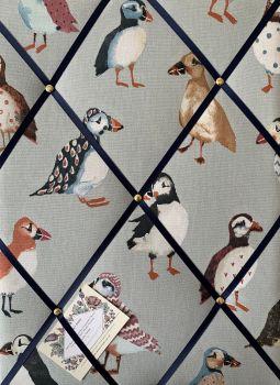 Custom Handmade Bespoke Fabric Pin Memo Notice Photo Cork Memo Board With Prestigious Puffin Bird Pumice Grey Choice of Sizes & Ribbons