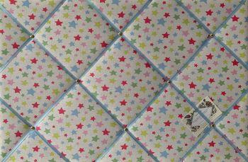 Custom Handmade Bespoke Fabric Pin Memo Notice Photo Cork Memo Board With Cath Kidston Shooting Stars Choice of Sizes & Ribbons