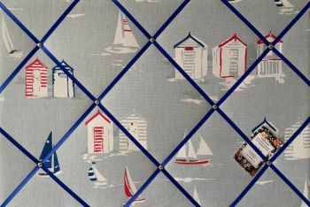 Custom Handmade Bespoke Fabric Pin Memo Notice Photo Cork Memo Board With Clarke & Clarke Beach Huts Blue With Your Choice of Sizes & Ribbons