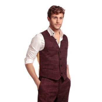 COLLECTIF Menswear Max Crosshatch Waistcoat Burgundy