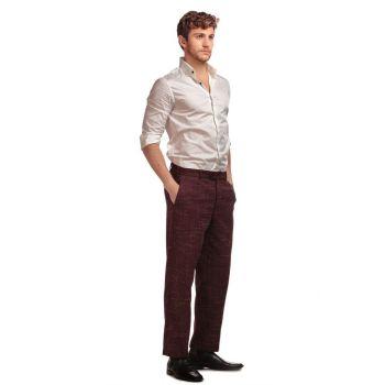 COLLECTIF Menswear Bobbie Crosshatch Trousers Burgundy