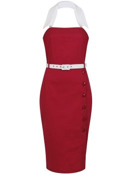 Collectif Mainline Classic Sassy Stretch Dorabella 1950s Red White Pencil Dress
