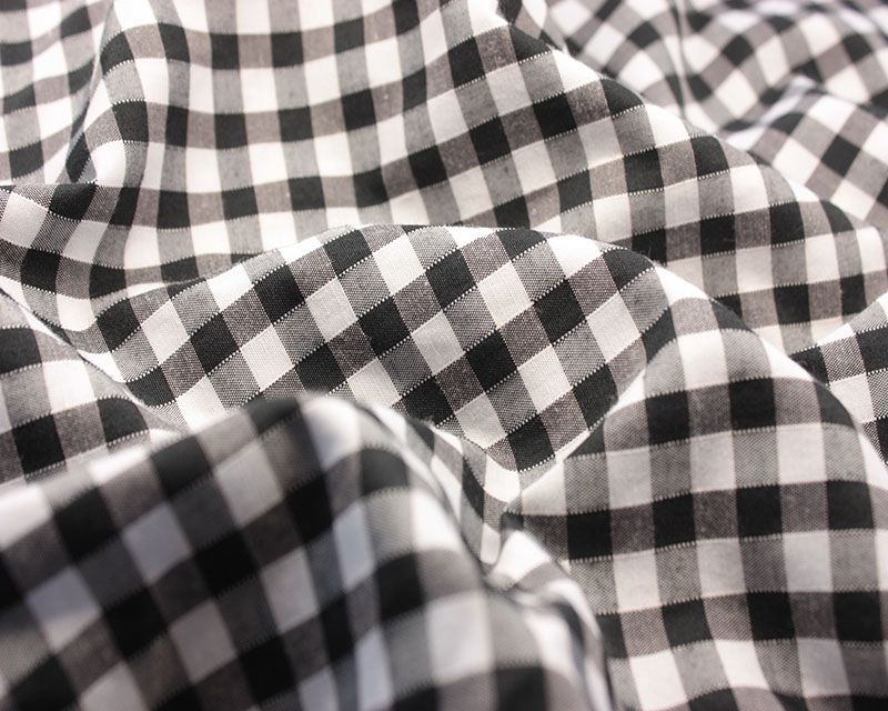 Polycotton Fabric Black High Density 1/4 Gingham Check 44 inch By The Metre
