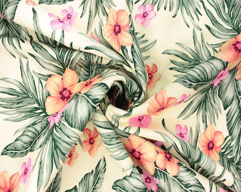 Floral Tropical Palm Leaves & Frangipani Flowers Cotton 56