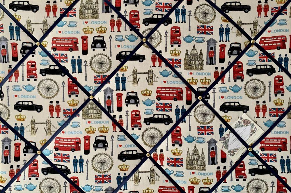 Custom Handmade Bespoke Fabric Pin Memo Notice Photo Cork Board With London