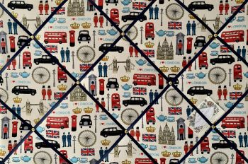 Custom Handmade Bespoke Fabric Pin Memo Notice Photo Cork Board With London Icons Attractions Capital City Fabric With Your Choice of Sizes & Ribbons