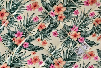 Custom Handmade Bespoke Fabric Pin Memo Notice Photo Cork Board Floral Tropical Palm Leaves & Frangipani Flowers Fabric Your Choice of Sizes & Ribbons