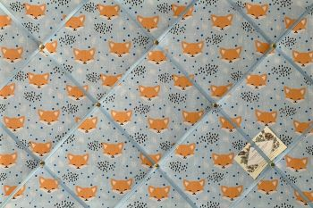 Custom Handmade Bespoke Fabric Pin Memo Notice Photo Cork Board With Blushing Sly Foxes Blue Wildlife Fabric With Your Choice of Sizes & Ribbons