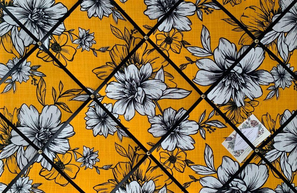 Custom Handmade Bespoke Fabric Pin Memo Notice Photo Cork Board Floral Gold