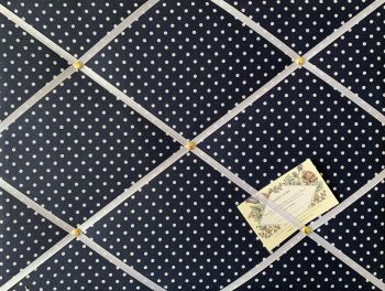 Custom Handmade Bespoke Fabric Pin Memo Notice Photo Cork Memo Board With Navy Blue & White Polka Dots With Your Choice of Sizes & Ribbons