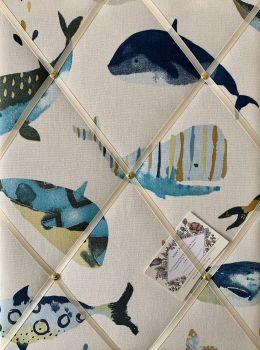 Custom Handmade Bespoke Fabric Pin Memo Notice Photo Cork Memo Board With Prestigious Whale Watching Sea Life Choice of Sizes & Ribbons