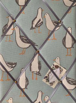 Custom Handmade Bespoke Fabric Pin Memo Notice Photo Cork Memo Board With Clarke & Clarke Seagulls Duck Egg Blue With Choice of Size & Ribbon