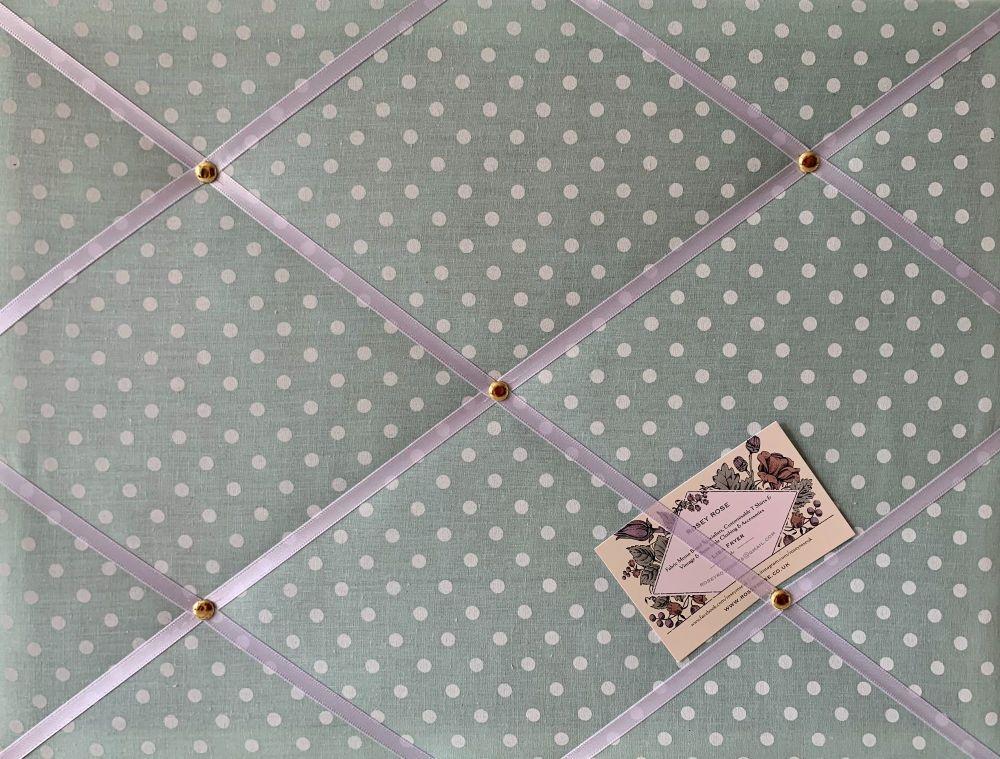 Custom Handmade Bespoke Fabric Pin Memo Notice Photo Cork Board With Mint G