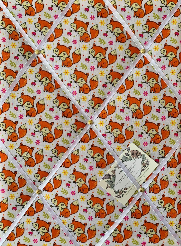 Custom Handmade Bespoke Fabric Pin Memo Notice Photo Cork Board With Foxes