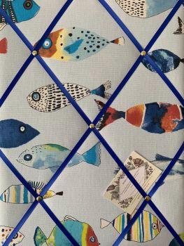 Custom Handmade Bespoke Fabric Pin Memo Notice Photo Cork Memo Board With Prestigious Gone Fishing Fish Ocean With Choice of Size & Ribbon