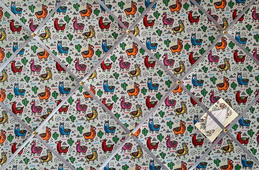 Custom Handmade Bespoke Fabric Pin Memo Notice Photo Cork Board With Silver