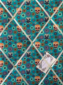 Custom Handmade Bespoke Fabric Pin Memo Notice Photo Cork Memo Board With Skulls & Flowers Jade Green Day of the Dead Choice of Sizes & Ribbon