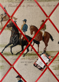 Custom Handmade Bespoke Fabric Pin Memo Notice Photo Cork Board With Vintage Ascot & Derby Horse Racing Choice of Sizes & Ribbons