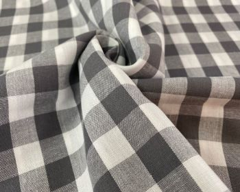 Dark Grey Large Cotton Gingham Check Fabric 55 inch By The Metre FREE DELIVERY