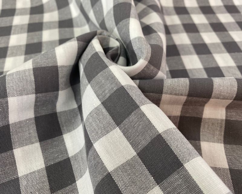 Dark Grey Large Cotton Gingham Check Fabric 55 inch By The Metre FREE DELIV