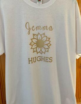 Customisable Men's / Women's T Shirt Sunflower & Your Name in Large