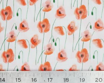 Watercolour Red White Poppies Cotton Fabric 58 inch By The Metre FREE UK DELIVERY