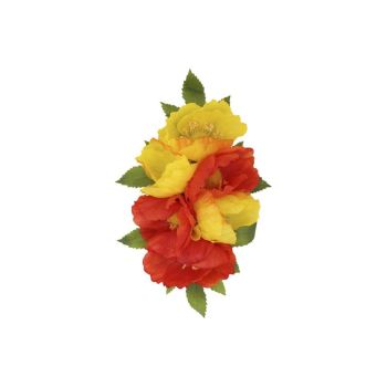 Collectif Accessories Nalani Hair Flower Clip or Broach in Red & Yellow