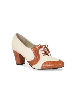 Lulu Hun Agnes Classic Block Heels Ivory & Tan Vintage Style Lace Up Shoes