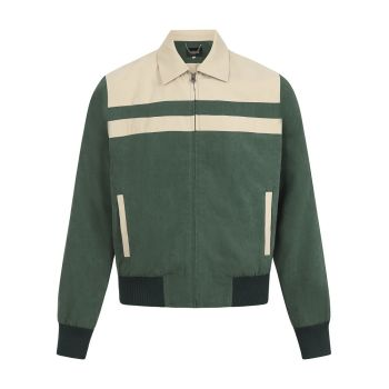 Collectif Menswear Jonathan Highgate Iconic Ricky Jacket Green & Cream Suedette