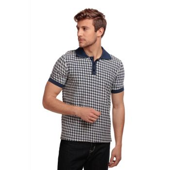 Collectif Menswear Pablo Navy Dogtooth Houndstooth Contrast Collar Polo Shirt