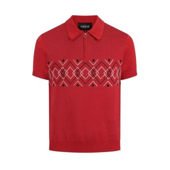 Collectif Menswear Pablo Classic Red Harlequin Knitted Zip Polo Top