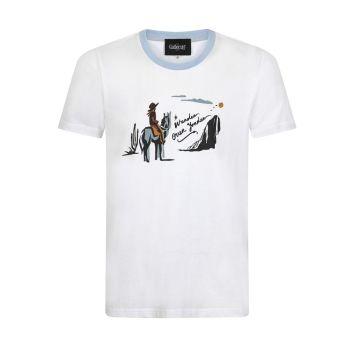 Collectif Menswear Jim Wander Yonder Cowboy on Horse Short Sleeved White T-shirt