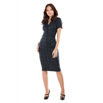Collectif Mainline Caterina Emerald & Navy Plaid Check Mid Length Pencil Dress