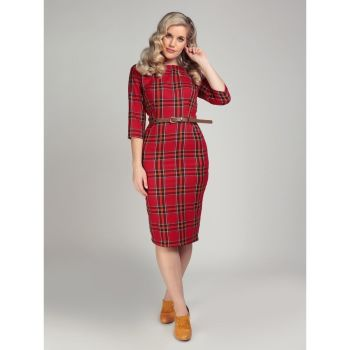 Collectif Adeline Berry Red Check Vintage Inspired Retro Chic Belt Pencil Dress