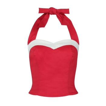 Collectif Mainline Shelly Nautical Sweetheart Bust Red White Trim Festive Top