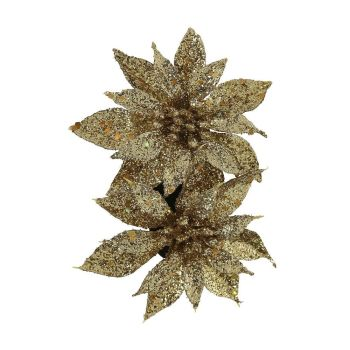 Collectif Accessories Louise Festive Shine & Sparkle Formal Hair Flower Gold Large Glittery Flowers