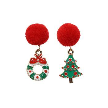 Collectif Accessories Jingle Jolly Enamel Christmas Wreath Tree Pom Pom Earrings