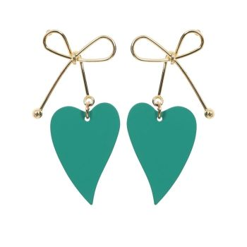 Collectif Accessories Pauline Green Heart Shape Gold Bows Retro Kitsch Earrings