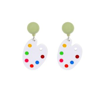Collectif Accessories Domed Stud Watercolour White Painters Palette Earrings