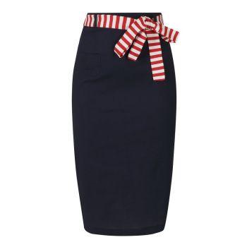 Collectif Mainline Marinella Navy Knee Length Pencil Skirt Red & White Sash Tie