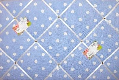 Large Cath Kidston Blue Spot Hand Crafted Fabric Notice / Pin / Memo Board