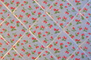 Large Cath Kidston Blue Mini Strawberry Hand Crafted Fabric Notice / Pin /