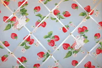 Large Cath Kidston Blue Strawberry Hand Crafted Fabric Notice / Pin / Memo