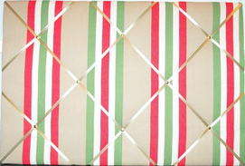 Large Cath Kidston Decking Stripe Hand Crafted Fabric Notice / Pin / Memo B